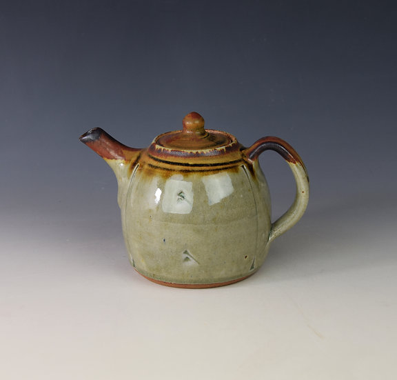 """1-pint ash glaze teapot with """"red top"""""""
