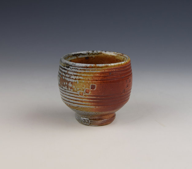 Soda fired yunomi (tea bowl) with lines and marks