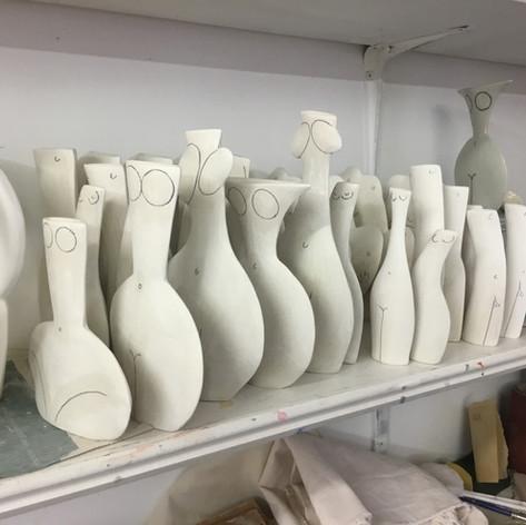 Unfired porcelain pieces