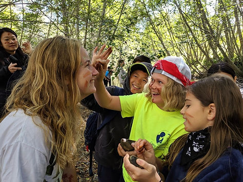 Students rock face painting Naturalist