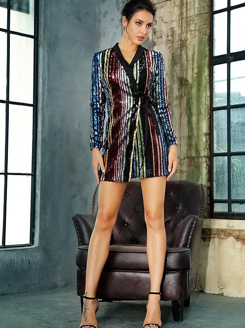 Striped Sequin Blazer Dress
