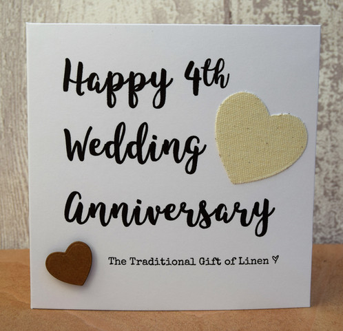 4th Wedding Anniversary Script Linen Card