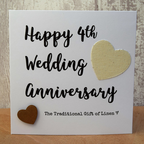 4th Wedding Anniversary Script Linen Card