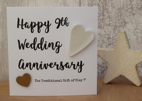 9th Wedding Anniversary Clay Script Card