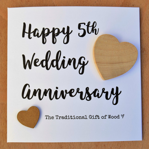 Handmade Anniversary Card With A Birch Wood Heart To Celebrate Five Years Of Marriage The Text Hy 5th Wedding Traditional Gift