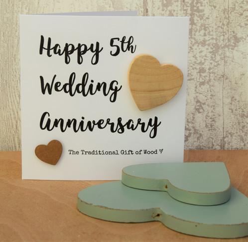 5th Wedding Anniversary Script Birch Wood Card