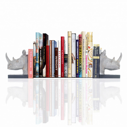 Rhino Head Bookend Set