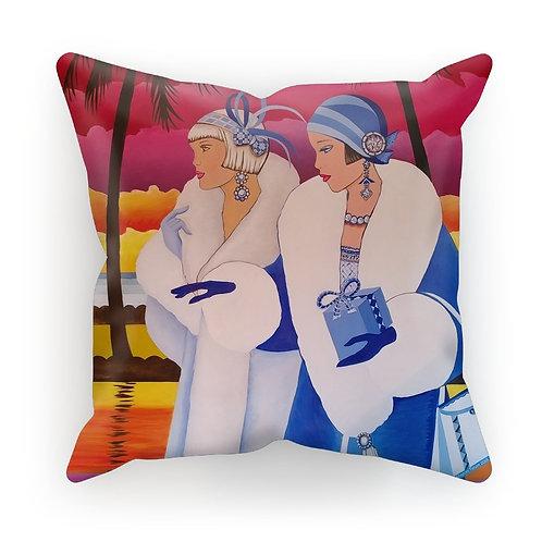 Palm Beach Blue Art Deco Cushion