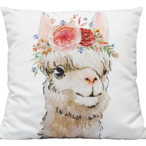 Boho Flower Llama Indoor / Outdoor Pillow