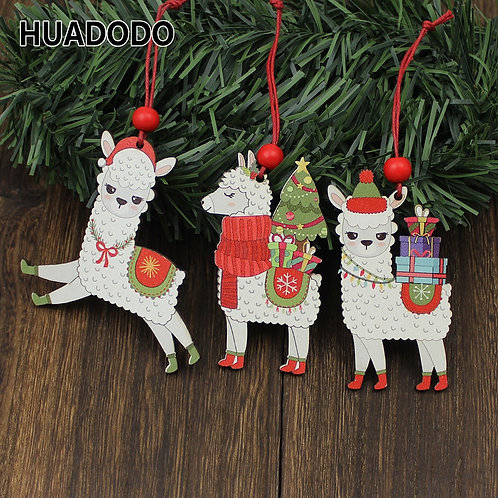 Wooden Llama Christmas Ornaments