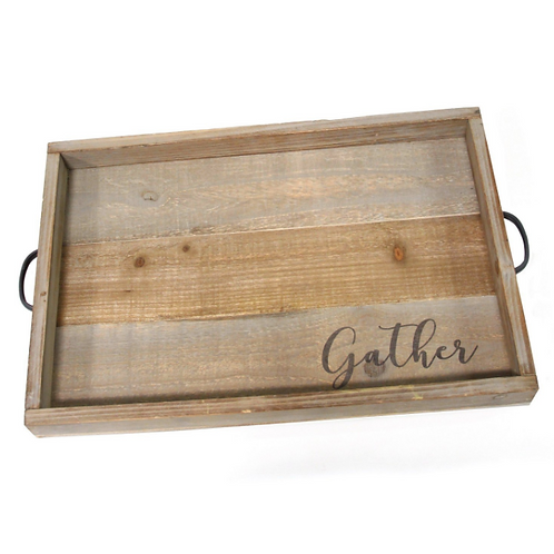 "Handcrafted Distressed ""Gather"" Wood & Metal Tray"