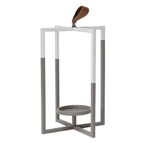 Grey White Metal Farmhouse Lantern