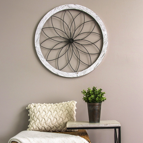 Distressed Chic Flower Wall Decor