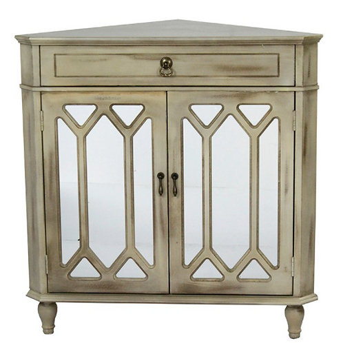 Taupe Washed Mirrored Corner Cabinet