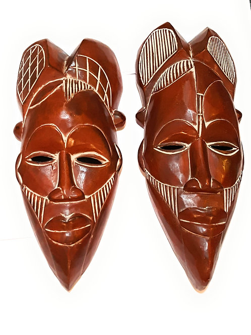 "2 Pieces of 12"" African Wood Mask in Brown"