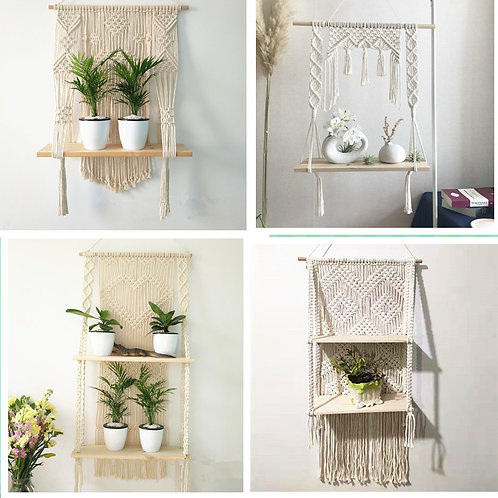Macrame Wall Hanging Planter with Shelving