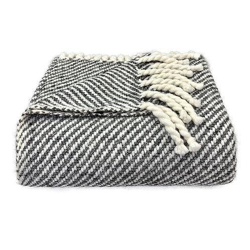 Chunky Black Stripe Alpaca Throw