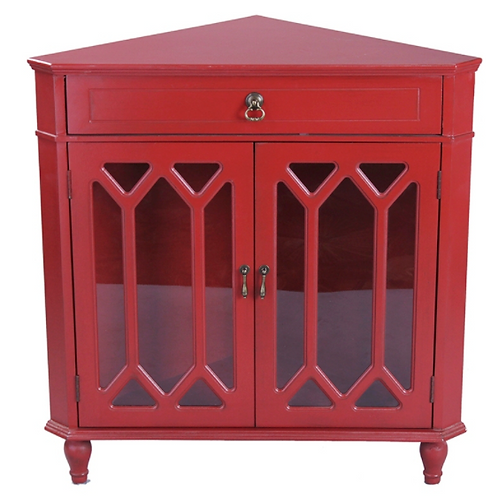 Red Corner Cabinet with Hexagonal Inserts