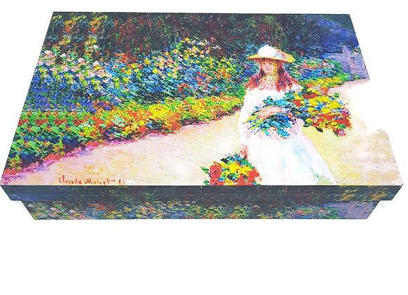 Caixa  Grande Monet Menina No Jardim