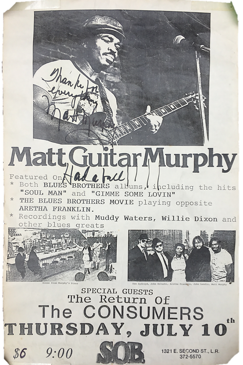 "Autographed SOB Poster for Matt ""Guitar"" Murphy"