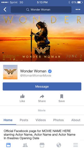 Wonder Woman Facebook