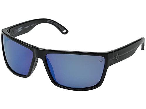 Spy Optic Rocky Soft Black Dark Gray Green Polarized with Dark Blue Spectra Mirr