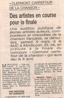 Clermont carrefour de la chanson Mélanie
