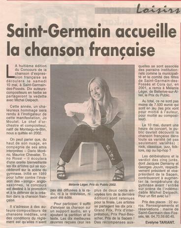 8ème édition de la chanson française Mél