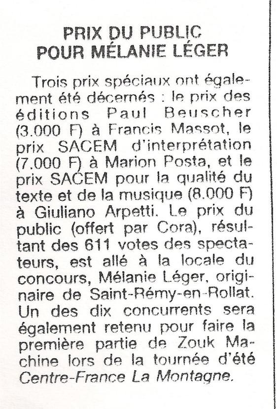 Prix du public Mélanie Léger