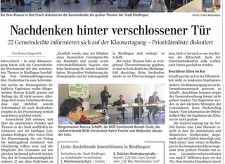 Klausurtagung Gemeinderat Riedlingen