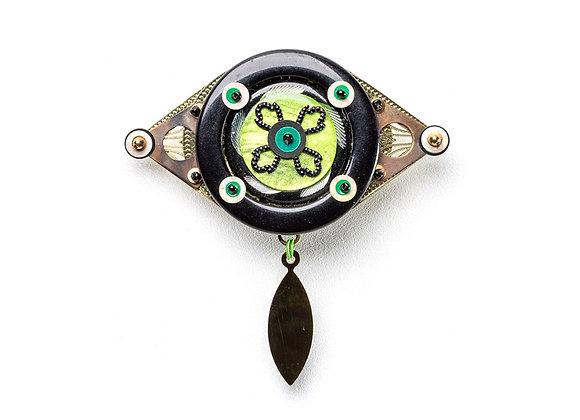 Broche Pingente Olho Verde