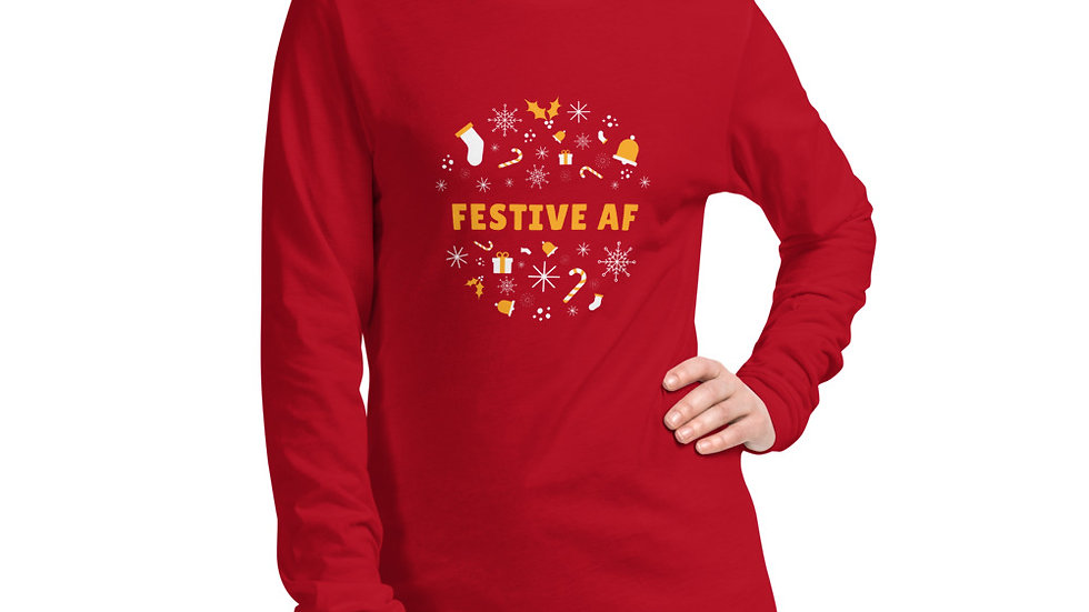 Festive AF Men's or Women's Christmas Holiday Long Sleeve T-Shirt