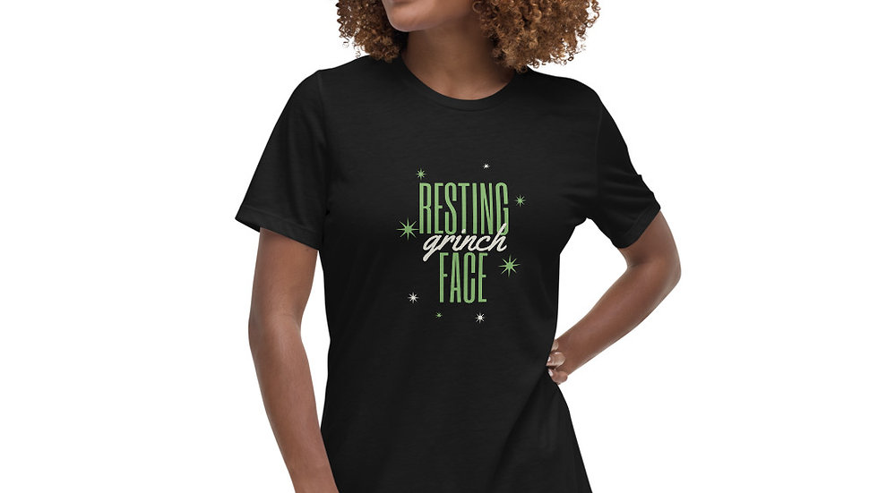 Resting Grinch Face Christmas Women's Relaxed T-Shirt