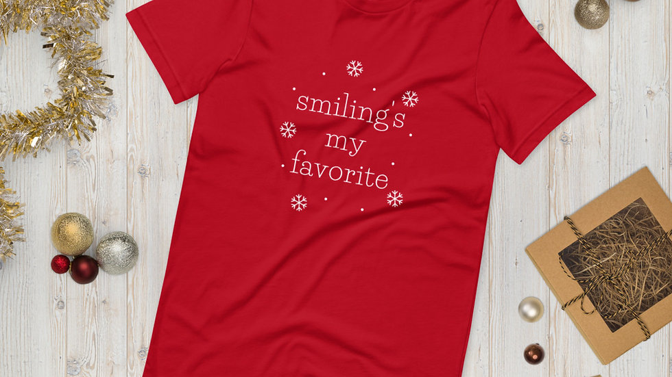 Smiling's My Favorite Elf Christmas Cute Funny Short-Sleeve Unisex T-Shirt