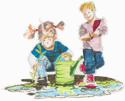 Kinder mit Pfütze