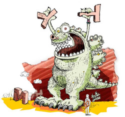 Godzilla kämpft mit Buchstaben