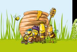 Bienen mit Honigtopf