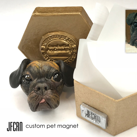 Polymer Clay Dog Sculpture Magnet