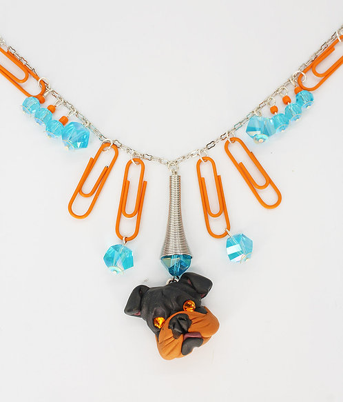 English Bulldog Paper Clip Necklace with Matching Earrings