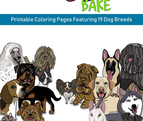 Doggo Bake Printable Coloring Pages Featuring 19 Dog Breeds (2nd)