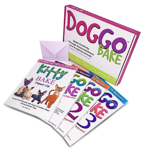 Doggo Bake Books 1, 2, 3 plus Kitty Bake Polymer Clay Book (Free Shipping)