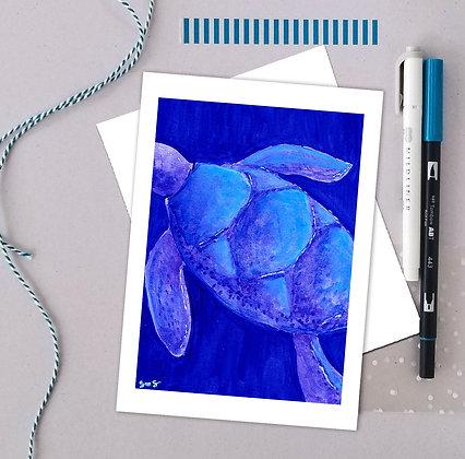 Blue Turtle Watercolor Art Print