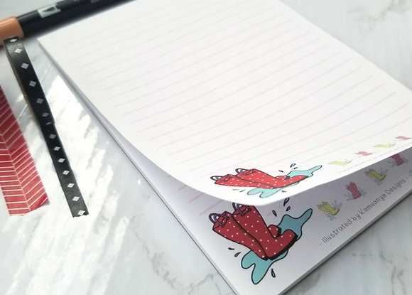 Rain Boots Lined Paper Notepad 5x7