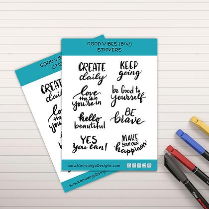 Black/White Inspirational Quotes Sticker Sheet