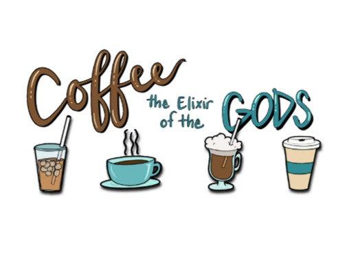 Coffee the Elixir of the gods Postcard 5x7