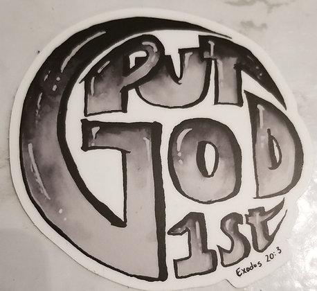 Put God 1st Round Sticker