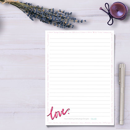 Love Language Lined Paper Notepad 5x7
