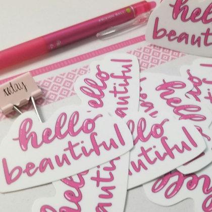 Hello Beautiful Handlettering Die-cut Vinyl Sticker