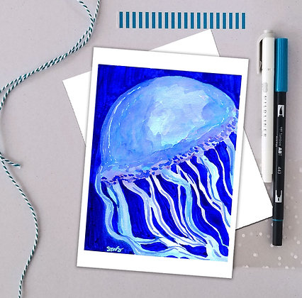 Blue Jellyfish Watercolor Art Print