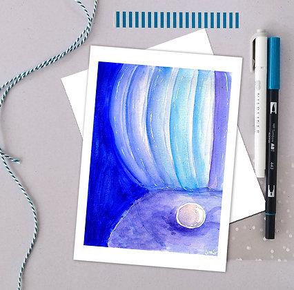 Blue Clam Watercolor Art Print